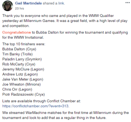 Millenium Games Summer 2018 Qualifier Top 10 results