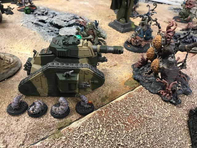 Nurgle Daemons and Gellerpox Grubs versus Leman Russ Tank